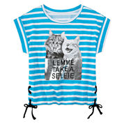 Total Girl Lace Up Side Tie Top-Big Kid
