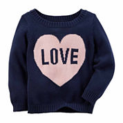 Carter's Crew Neck Long Sleeve Cotton Pullover Sweater - Toddler