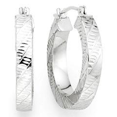 14K White Gold 19.65mm Square-Edge Hoop Earrings