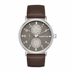 Claiborne Mens Brown Strap Watch-Clm1204