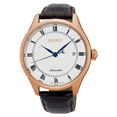 seiko men s watches for jewelry watches jcpenney seiko mens automatic white dial brown leather band watch srp772
