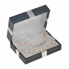 Womens 3-pc. Pink Pearl Sterling Silver Jewelry Set