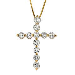 Womens 2 CT. T.W. White Diamond 14K Gold Pendant Necklace