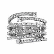 Womens White Crystal Cocktail Ring