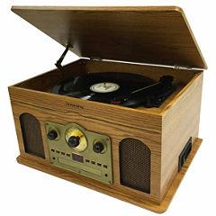 Studebaker SB6080 5-in-1 Stereo Music System, Wooden Grain