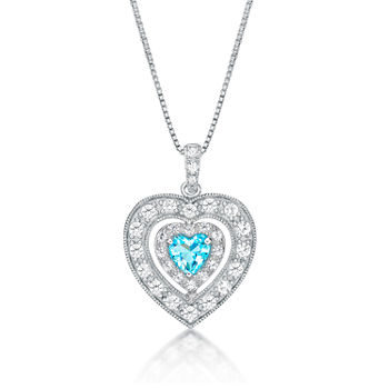 Womens Genuine Swiss Blue Topaz Amp Lab created White Sapphire Sterling Silver Pendant Necklace