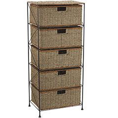Household Essentials® Seagrass/Rattan 5-Drawer Storage Unit