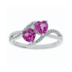Lab-Created Pink Sapphire and Diamond-Accent Sterling Silver Ring
