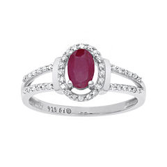 Lead Glass-Filled Ruby and 1/8 CT. T.W. Diamond 10K White Gold Oval Ring