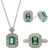 Simulated Emerald and Lab-Created White Sapphire 3-pc. Jewelry Set