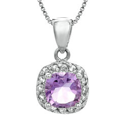 Cushion-Cut Genuine Amethyst and White Topaz Sterling Silver Pendant Necklace