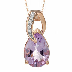 Genuine Amethyst and Diamond-Accent 10K Rose Gold Drop Pendant Necklace