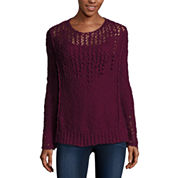 Arizona Long Sleeve Round Neck Pullover Sweater-Juniors