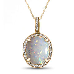 Womens 1/8 CT. T.W. Multi Color Opal 10K Gold Pendant Necklace