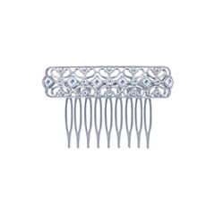 Diamonart® Sterling Silver Cubic Zirconia Princess Hair Comb