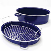 Chantal® 11-qt Enamel-On-Steel Covered Roaster with Stainless Steel Rack Pan