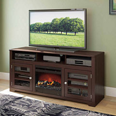 West Lake Fireplace TV Bench, for up to 68