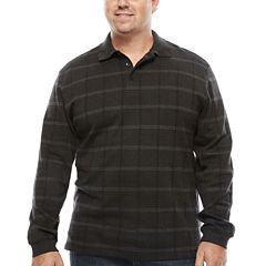Van Heusen Jaspe Windowpane Polo Shirt-Big & Tall