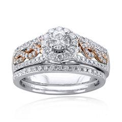 Modern Bride 1 CT. T.W. Certified Diamond 14K Two-Tone Gold Infinity Bridal Ring Set
