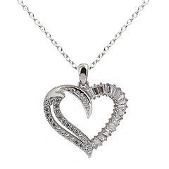 DiamonArt® Cubic Zirconia Sterling Silver Heart Pendant Necklace