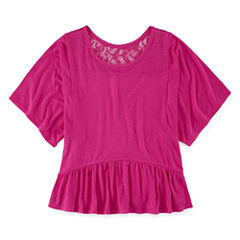 Total Girl Short Sleeve Peplum Lace Back Top - Girls' 7-16 and Plus