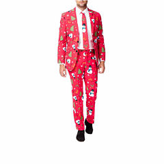 Holiday Red Snowmen OppoSuits 3-pc. Suit- Slim Fit