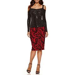 Bisou Bisou Shirred Front Band Top or Jacquard Pencil Skirt