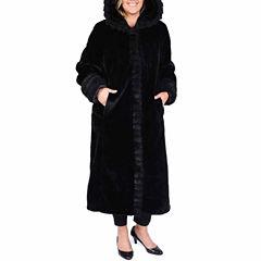 Excelled® Faux-Fur Long Solid Coat - Plus