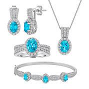 Womens 4-pc. Blue Topaz Silver Over Brass Jewelry Set