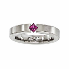 Edward Mirell Mens Purple Rhodolite Titanium Wedding Band