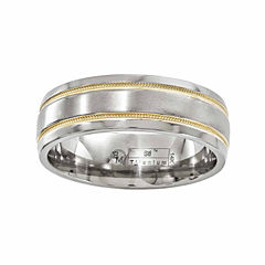 edward mirell mens 14k gold titanium wedding band - Jcpenney Mens Wedding Rings