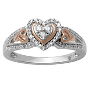Hallmark Diamonds Womens 1/4 CT. T.W. White Diamond 14K Gold Over Silver Cocktail Ring