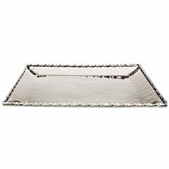 Classic Touch hammered stainless steel Rectangular Platter Tray 16