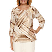 Alfred Dunner Twilight Point 3/4 Sleeve Crew Neck T-Shirt