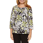 Alfred Dunner Casual Friday 3/4 Sleeve Crew Neck T-Shirt