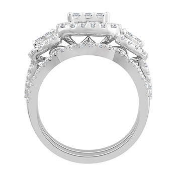 Love Lives Forever Womens 1 12 Ct Tw Genuine White Diamond 10k White Gold 3 stone Engagement Ring