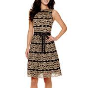 Jackie Jon Sleeveless Lace Fit-and-Flare Dress