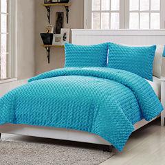 VCNY Rose Plush Comforter Set