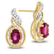 1/3 CT. T.W. Red Ruby 14K Gold Drop Earrings