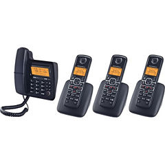 Motorola L704C DECT 6.0 Corded Phone System with 3 Cordless Handsets