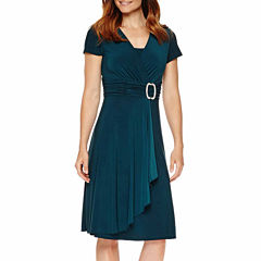 R&M Richards Short-Sleeve Jeweled-Pin Faux-Wrap Dress