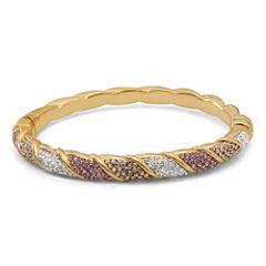 Womens Multi Color Crystal Gold Over Silver Bangle Bracelet