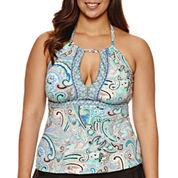 Liz Claiborne Paisley Tankini Swimsuit Top-Plus
