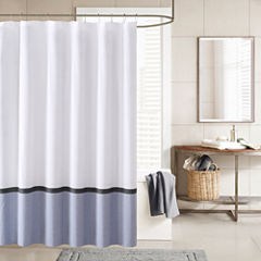 INK+IVY Hudson Chambray Cotton Blend Shower Curtain