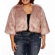 Ashley Nell Tipton for Boutique+ Faux-Fur Poncho - Plus