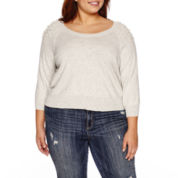 Ashley Nell Tipton for Boutique + 3/4 Sleeve Scoop Neck Pullover Sweater-Plus