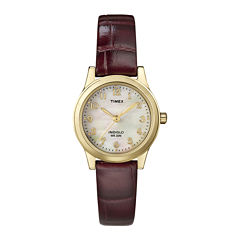 Timex® Elevated Classic Womens Brown Leather Strap Watch T216939J
