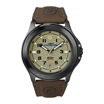 Timex Expedition Field Metal Mens Brown Leather Strap Watch T470129j