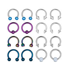 Stainless Steel 316L 8-pc 16 Ga. Captive Hoops And Horseshoe Set