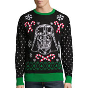Novelty Season Crew Neck Long Sleeve Star Wars Cotton Blend Pullover Sweater